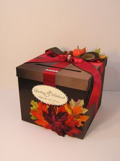 Fall Wedding Card Box Gift Card Box Money Box by bwithustudio