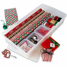 Small containers within a larger container.  A simple, easy and organized way to store gift wrapping supplies.