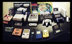 My complete Nintendo collection : Famicom, NES, SNES, N64, GameCube, Wii. Donkey Kong Game & Wartch, Donkey Kong Jnr Game & Watch, Gameboy, Super Mario Bros Watch, Gameboy pocket, Gameboy color, Nintendo DS