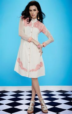 Picture of Splendorous Off White Color Georgette Tunic