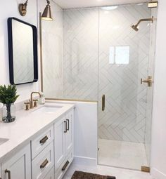 New Ideas Kitchen Tile Backsplash Herringbone Master Bath Bad Inspiration, Bathroom Inspiration, Master Bathroom Shower, Bathroom Shower Remodel, Bathroom Tile Showers, Small Bathroom With Shower, Half Glass Shower Wall, Bathroom With Wood Floor, Bathroom No Window