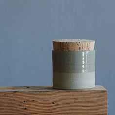 corked canister modern jar. handmade ceramic jar. lidded cup. sand colored stoneware clay with transparent blue - grey glaze. READY MADE