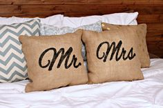 These are great! Mr and Mrs Pillow Set  Wedding Gift for Newlyweds by ForJasper
