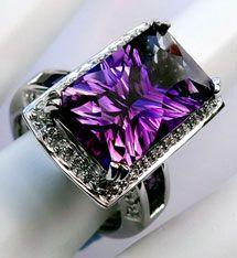 "Bellarri ""Colors of Passion"" 18K White Gold, Amethyst & Diamond Ring $1795"