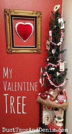 My Valentine's Day tree with handmade decorations, garlands, banners, bunting. | DuctTapeAndDenim.com