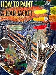"Painting a jean jacket into the famous painting by Edvard Munch called ""The Scream"" using acrylic paint. Acrylic paint: Liquitex Basics found a Joanns and Mi. Famous Artwork, Back Painting, Diy Painting, Jean Jacket Design, Painted Jeans, Edvard Munch, Using Acrylic Paint, Easy Projects"