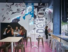 Aces of Space - Doi Doi I Hospitality Design & Branding / The creation of a visual Hospitality Design, Futuristic, Color Pop, Color Schemes, Branding Design, Street Art, Glow, Hand Painted, Projects