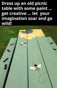 Picnic bench. Bees and sunflowers
