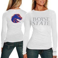 Boise State Broncos Ladies Finish Line Long Sleeve T-Shirt - White