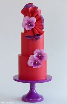 Dancing Violets   Bold Wedding Cake Inspiration   by Intricate Icings on http://TheCakeBlog.com