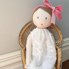 handmade eco-doll wearing a nightie made from a vintage embroidered tray cloth - Constanca Cabral