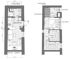 Planos de apartamento pequeño de dos pisos, 22 m2