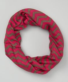 This Magenta & Brown Zigzag Infinity Scarf is perfect! #zulilyfinds