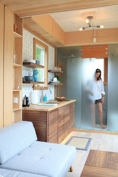 Modern 21ft Tiny House with Secret Ceiling Bed and Remote Control Gull-wing Door!