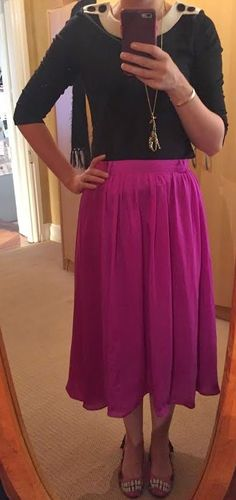 The Girl With Nothing to Wear: Black top, pink skirt, work style, spring style