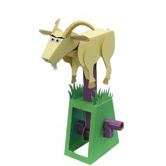"""This paper toy is designed by canon papercraft. This """"moving paper craft"""" features a goat with large horns on his head, leaping across a grassy hill. Assem"""