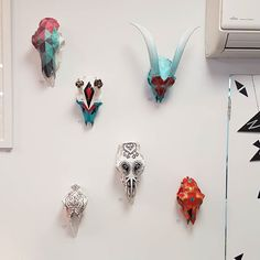 Wall of hand painted  naturally shed skulls soooo detailed!!! by createdhomewares http://discoverdmci.com