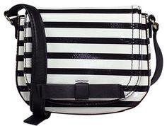 Kate Spade New Chelsea Park Jade Wkru2400 Stripe Black And Ice White Cross Body Bag $110