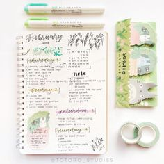 "9,594 Likes, 21 Comments - Notebook Therapy (@notebook_therapy) on Instagram: ""Cute floral spread by @totoro_studies the totoro stickies are too cute we have totoro washi…"""