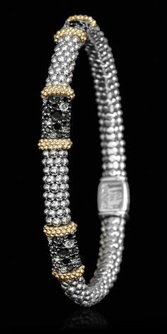 <3 Signature Caviar bracelet with black spinel and pavé diamonds. LAGOS Jewelry | Nightfall