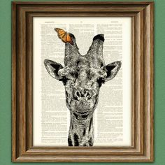 Giraffe with Butterfly illustration beautifully upcycled dictionary page book art print — SOLD