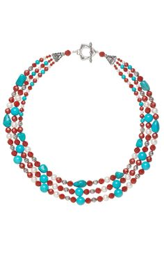 """""""Daybreak at Canyons Edge"""" Triple-Strand Necklace with Swarovski Crystal Beads, Sleeping Beauty Turquoise Gemstone Beads and Sterling Silver Beads #Turquoise #Swarovski #beading #jewelrymaking #diyjewelry"""