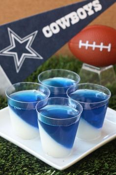 Dallas Cowboys Jell-O Shots envelopes Knox plain gelatin 1 cup milk cup sugar 2 cup vodka 3 oz. box berry blue Jell-O Navy blue food coloring) Cowboy Theme Party, Cowboy Birthday Party, Pirate Party, Dallas Cowboys Party, Dallas Cowboys Baby Shower Ideas, Dallas Cowboys Birthday Cake, Football Birthday, 27th Birthday, Birthday Fun