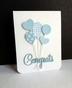 handmade baby congratulations card from I'm in Haven . bouquet of die cut balloons from coordinating blue print papers Diy Cards Baby, Baby Boy Cards Handmade, New Baby Cards, Greeting Cards Handmade, Cards Diy, Kids Cards, Baby Congratulations Card, Congrats Cards, Tarjetas Diy