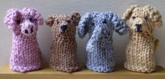Finger Puppets-This pattern is available as a free Ravelry download. Four little finger puppets, all with the same body but different ears, noses and tails to give them their character. These are quick to knit and use only small amounts of double knitting weight yarn.