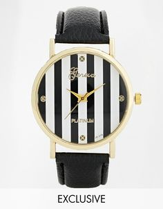 Reclaimed Vintage | Reclaimed Vintage Striped Black Leather Strap Watch at ASOS