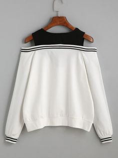 Black Varsity Striped Contrast Open Shoulder Sweatshirt - Sweat Shirt - Ideas of Sweat Shirt - Black Varsity Striped Contrast Open Shoulder Sweatshirt Girls Fashion Clothes, Teen Fashion Outfits, Mode Outfits, Cute Fashion, Girl Outfits, Crop Top Outfits, Cute Casual Outfits, Stylish Outfits, Mode Top