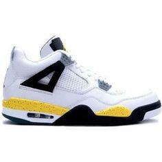 314254 171 Nike Air Jordan 4 IV Retro LS Lifestyle-White/ Tour Yellow-Dark Blue-Grey Black, Real Jordans For Sale At Authentic Air Jordan Store.
