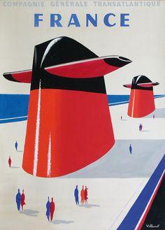 France * Compagnie Générale Transatlantique #tourism #poster by Bernard Villemot (1962)