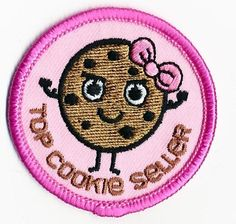 Girl Boy Top Cookie Seller Pink Fun Patches Crests Badges Guide Scout Iron On | eBay