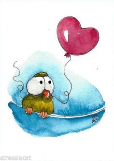 ACEO-Original-watercolor-painting-green-whimsical-bird-on-wire-red-heart-balloon