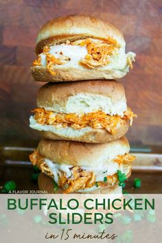 Easy buffalo chicken sliders made with rotisserie chicken! This recipe makes four sliders, but can easily be doubled or tripled if needed!  #buffalochicken #buffalochickensliders #sliderrecipe #chickensliders Costco Rotisserie Chicken, Buffalo Chicken Sandwiches, Chicken Recipes For Two, Ranch Recipe, Slider Recipes, Cooking On A Budget, Budget Meals, Shredded Chicken, Cooking Recipes