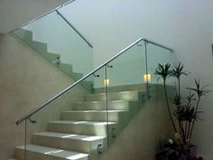 Like the filled in stair treads with the glass panels Modern Architecture House, Railing Design, Modern Stairs, Modern House, Fireplace Design, Window Design, Glass Stairs, Stairs, House Wall Design