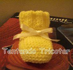 Tentando Tricotar: Sapatinho amarelo
