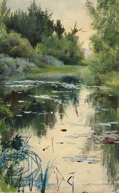 natur landscape Anders Zorn, a natu - natur Art Aquarelle, Watercolor Landscape, Watercolour Painting, Landscape Art, Landscape Paintings, Watercolors, Oil Paintings, Painting Art, Wow Art
