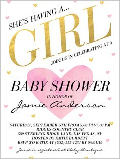 Baby Shower Invitation Arrival Grid Girl Rounded Corners Grey