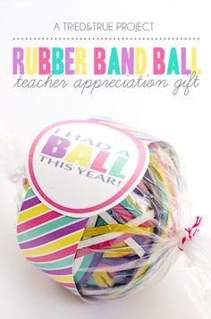 RUBBER BAND BALL TEACHER APPRECIATION GIFT - 25+ teacher appreciation week ideas - NoBiggie.net