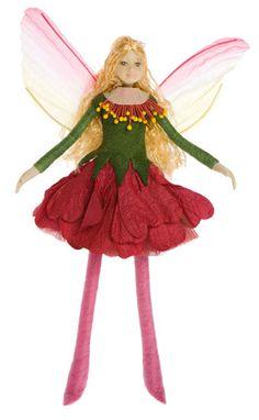 Bendable Petal Fairies Red Holly Hock Summer Fairy