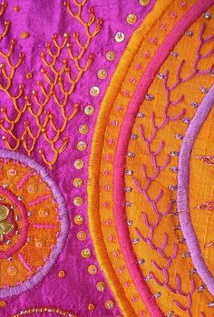 Pink and orange textile...reconfigured