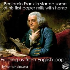 Happy Hemp History Week!! Benjamin Franklin knew what was up!! Help us spread the #Hemp movement by sharing this or other educational Hemp information. Make Hemp Part of Your Everyday! Use HEMP10 for 10% off: