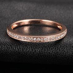 MILGRAIN Pave 0.17ct SI/H Diamond 14K Rose Gold