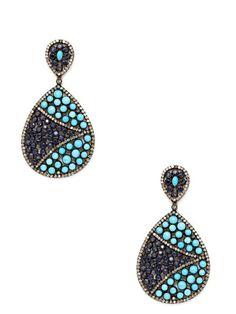 Sapphire & Turquoise Double Teardrop Earrings by Aishwarya at Gilt