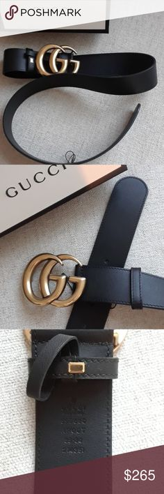 ☆Gucci☆Double G☆Belt Finish your outfits on a sophisticated note with this smooth leather belt from Gucci.  The black leather piece cements its luxury status with the brand's iconic logo front and centre, shining bright in gold-tone metal.  NO TRADES. Gucci Accessories Belts