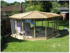 the ultimate--giant screened gazebo for outdoor bunny space during warm weather