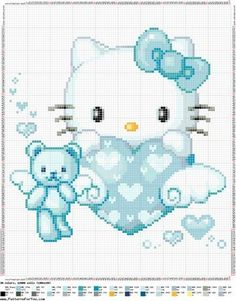 cute hello kitty cross stitch pattern converted to plastic canvas would be cute for a wall hanging
