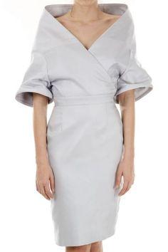Garteth Pugh silk pencil dress wide crossed V-neck (art. PH4544 TA 0028)